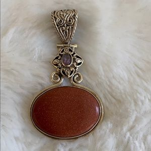 Jewelry - Stamped Genuine Amethyst and Sunstone Pendant